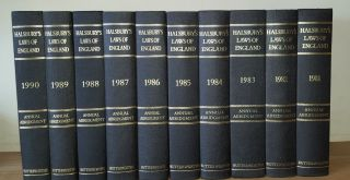 HALSBURY'S LAWS OF ENGLAND Annual Abridgement 1981 - 1990. MUGFORD Kenneth, HEATHFIELD Elizabeth